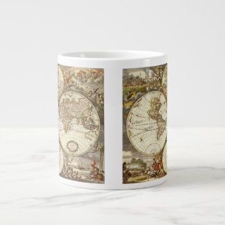 Antique World Map, c. 1680. By Frederick de Wit Large Coffee Mug