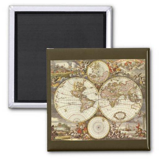 Antique World Map, c. 1680. By Frederick de Wit Magnet