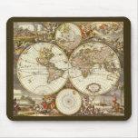 Antique World Map, c. 1680. By Frederick de Wit Mousepads