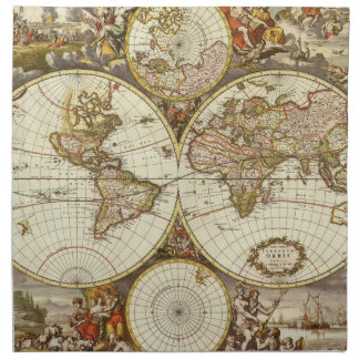 Antique World Map, c. 1680. By Frederick de Wit Napkin