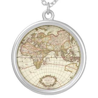 Antique World Map c 1680 By Frederick de Wit Custom Necklace