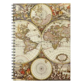 Antique World Map, c. 1680. By Frederick de Wit Spiral Notebook