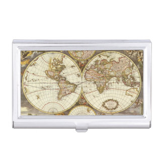 Antique World Map, c. 1680. By Frederick de Wit Case For Business Cards