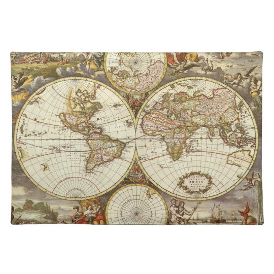Antique World Map, c. 1680. By Frederick de Wit Placemat