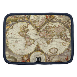 Antique World Map, c. 1680. By Frederick de Wit Planner
