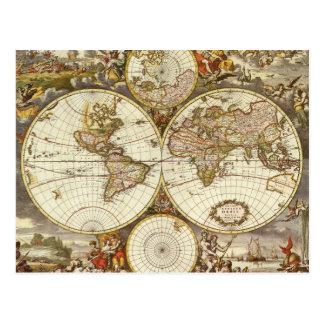 Antique World Map c 1680 By Frederick de Wit Postcard
