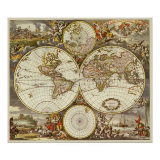 Antique World Map, c. 1680. By Frederick de Wit Poster