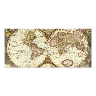 Antique World Map, c. 1680. By Frederick de Wit Custom Rack Card