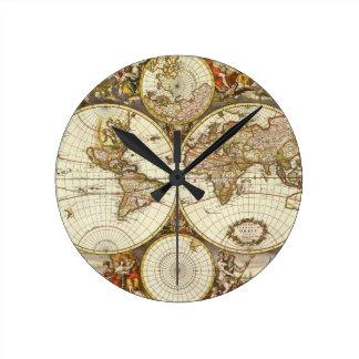 Antique World Map, c. 1680. By Frederick de Wit Round Clock