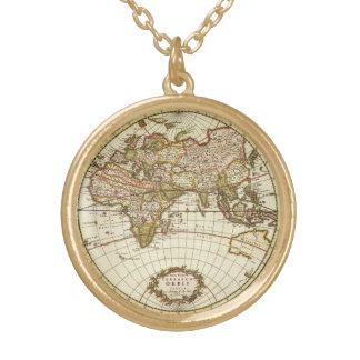Antique World Map, c. 1680. By Frederick de Wit Round Pendant Necklace