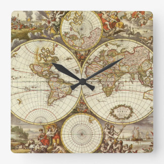 Antique World Map, c. 1680. By Frederick de Wit Square Wall Clock
