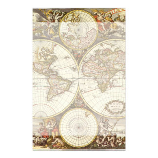 Antique World Map, c. 1680. By Frederick de Wit Stationery