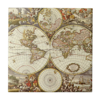 Antique World Map, c. 1680. By Frederick de Wit Tile