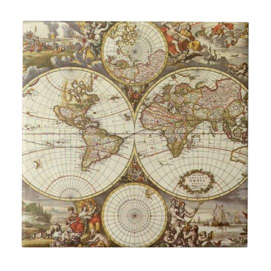 Antique World Map, c. 1680. By Frederick de Wit Tile