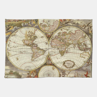 Antique World Map, c. 1680. By Frederick de Wit Towel