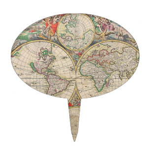 Time travel cake toppers zazzle antique world map cake topper gumiabroncs Images