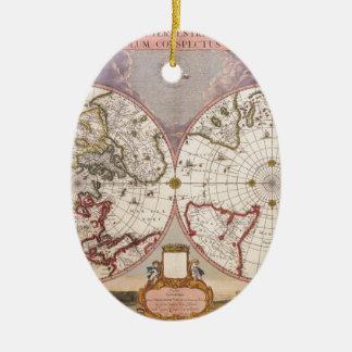 Antique World Map Ceramic Ornament