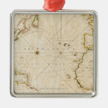 Antique world map christmas tree ornament