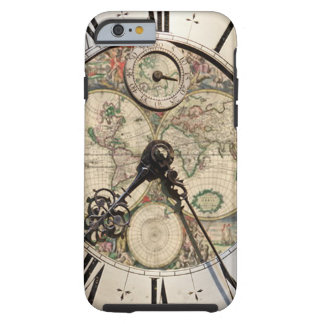 Antique world map clock iPhone four cover