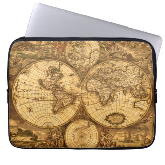 Antique World Map Computer Sleeves