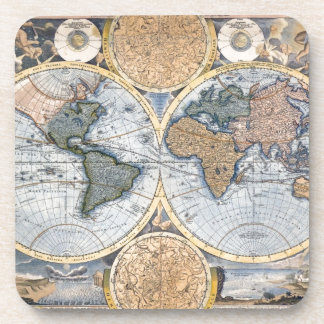Antique world map cool drink coasters
