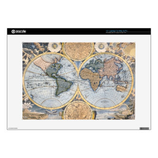 "Antique world map cool decal for 15"" laptop"