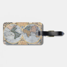 Antique world map cool luggage tag
