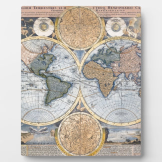 Antique world map cool photo plaque