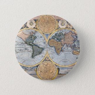 Antique world map cool pinback button