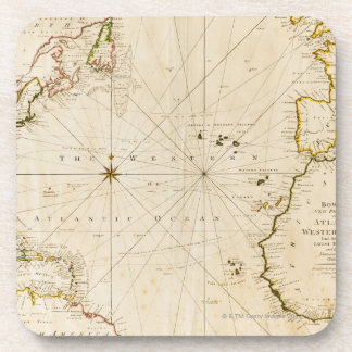 Antique world map beverage coasters