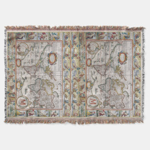 Make your own vintage world map blanket bundle up in yours today antique world map custom monogram throw blanket gumiabroncs Choice Image