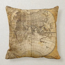 Antique World Map Custom Pillow throwpillow