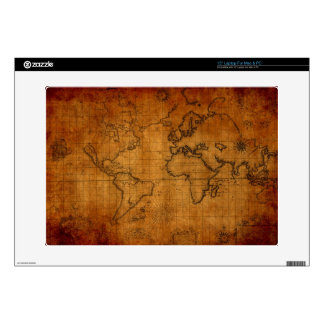 "Antique World Map Decal For 15"" Laptop"