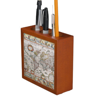 Antique World Map desk organizer Pencil/Pen Holder