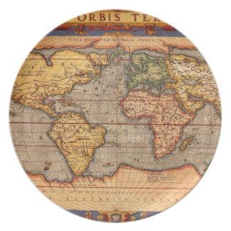 Antique World Map Dinner Plate