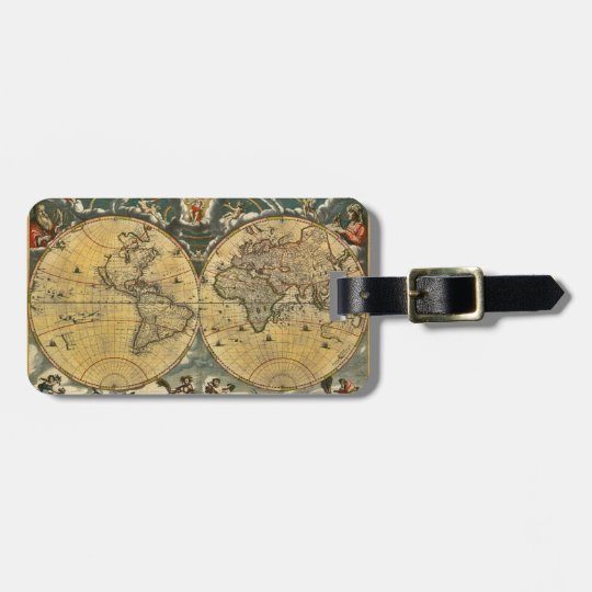 Antique World Map Distressed #2 Bag Tag