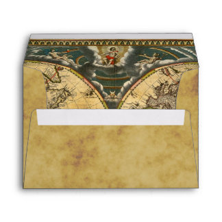 Antique World Map Distressed #2 BG A7 5x7 Envelope