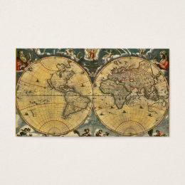 Antique World Map Distressed #2 Business Card