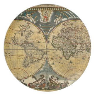 Antique World Map Distressed #2 Dinner Plate
