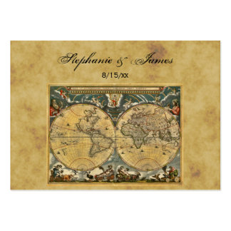 Antique World Map Distressed #2 Escort Cards Business Card Template