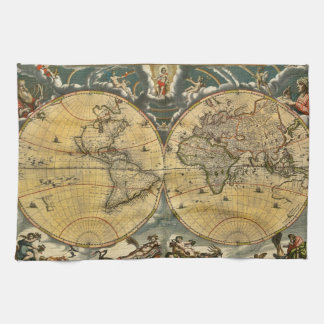 Antique World Map Distressed #2 Hand Towel