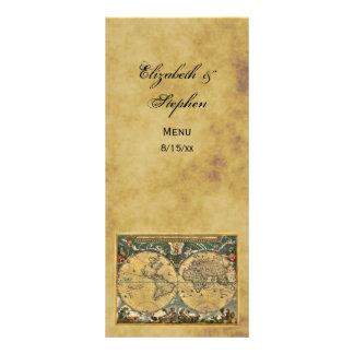 Antique World Map Distressed #2 Menu Card Custom Rack Cards
