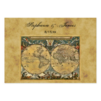 Antique World Map Distressed #2 Place Cards Large Business Cards (Pack Of 100)