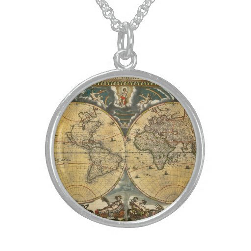 Antique World Map Distressed #2 Round Pendant Necklace