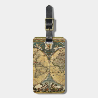 Antique World Map Distressed #2 Tag For Luggage