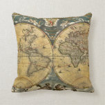 Antique World Map Distressed #2 Throw Pillows
