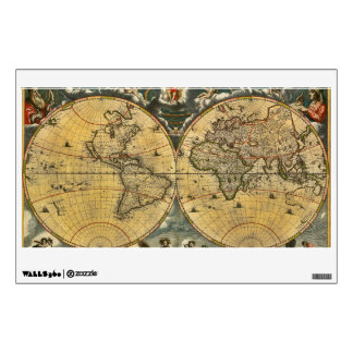 Antique World Map Distressed #2 Wall Decals