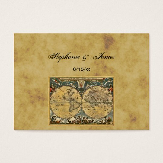 Antique World Map Distressed #2A Escort Cards