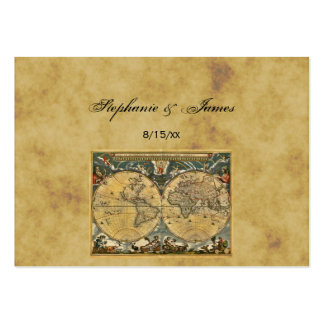 Antique World Map Distressed #2A Escort Cards Business Card Template