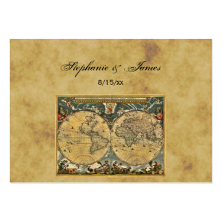 Antique World Map Distressed #2A Place Cards Business Cards